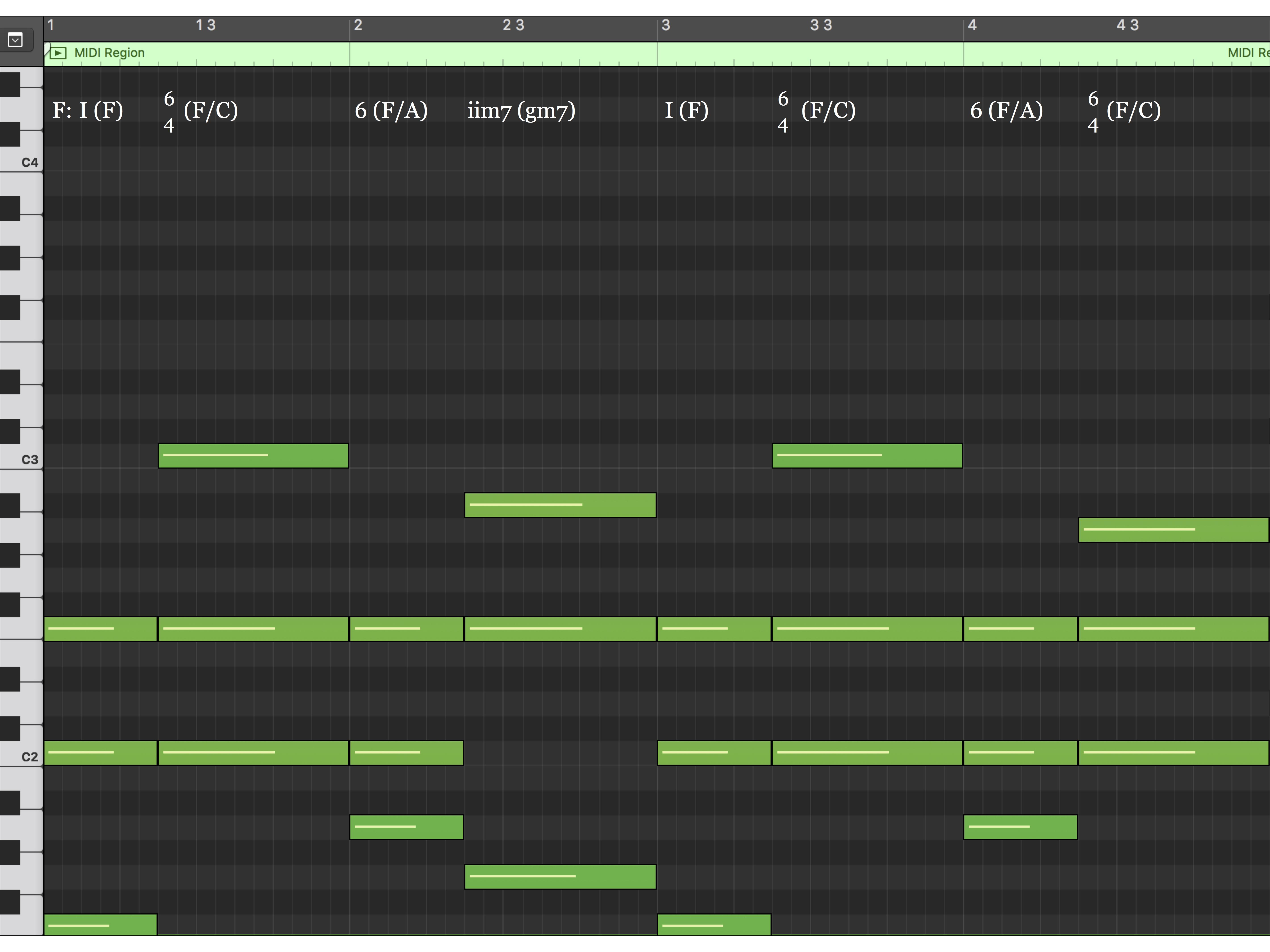 Harmony MIDI Notation (mm. 1 - 4)