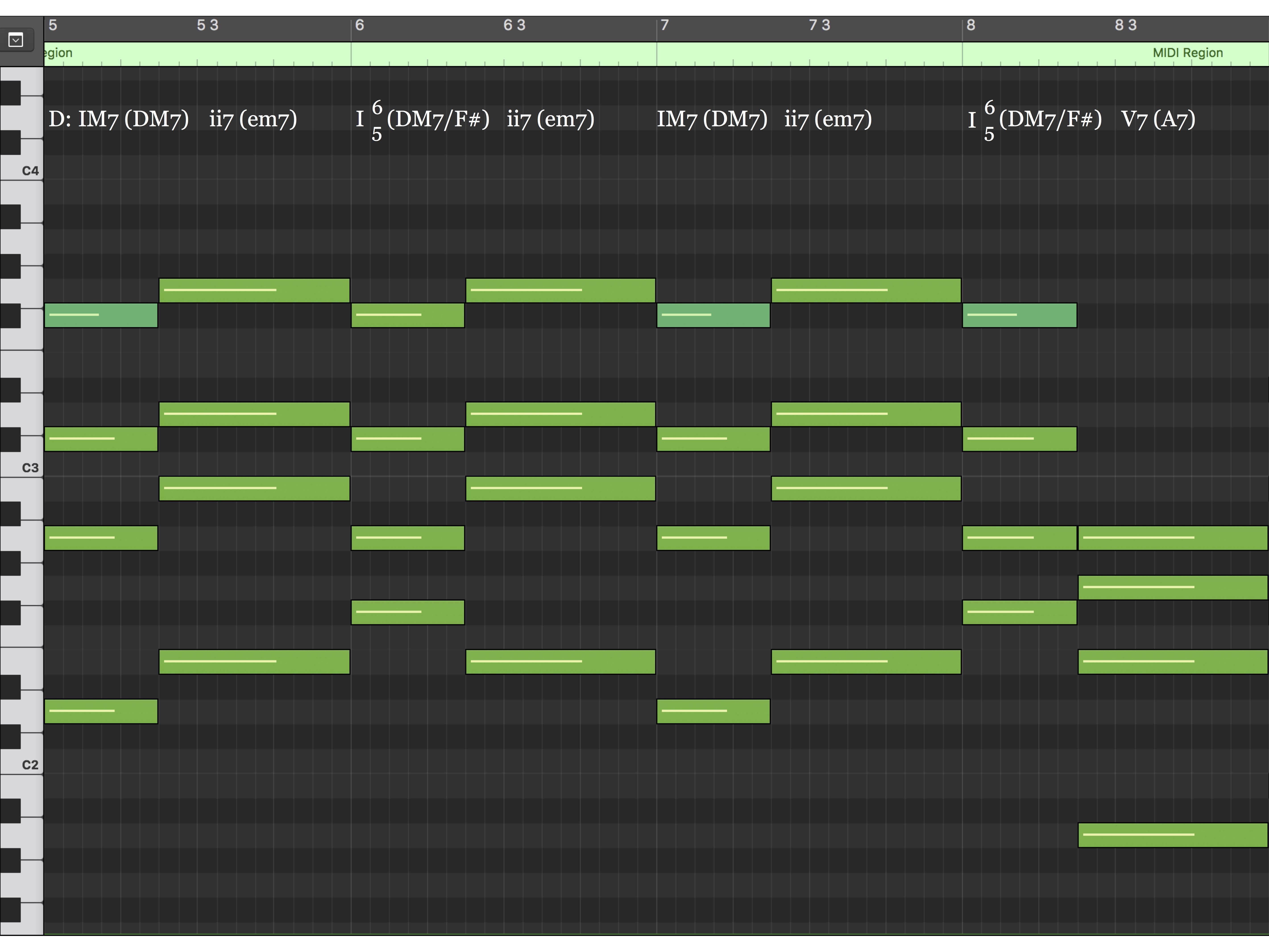 Harmony MIDI Notation (mm. 5 - 8)