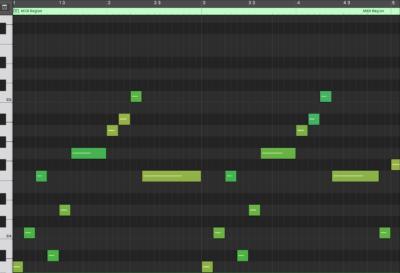 Melody MIDI Notation (mm. 1 - 4)