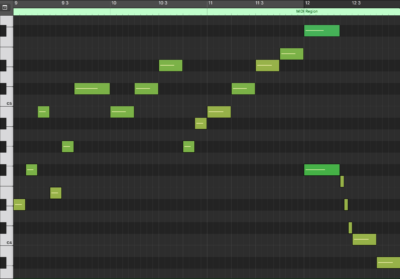 Melody MIDI Notation (mm. 9 - 12)