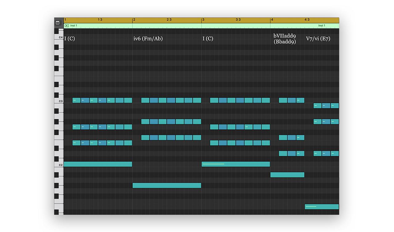 Coco MIDI Notation (mm. 1 - 4)