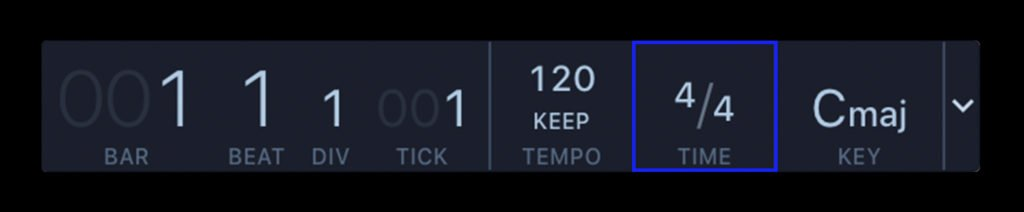 Common time (4/4) displayed in a DAW