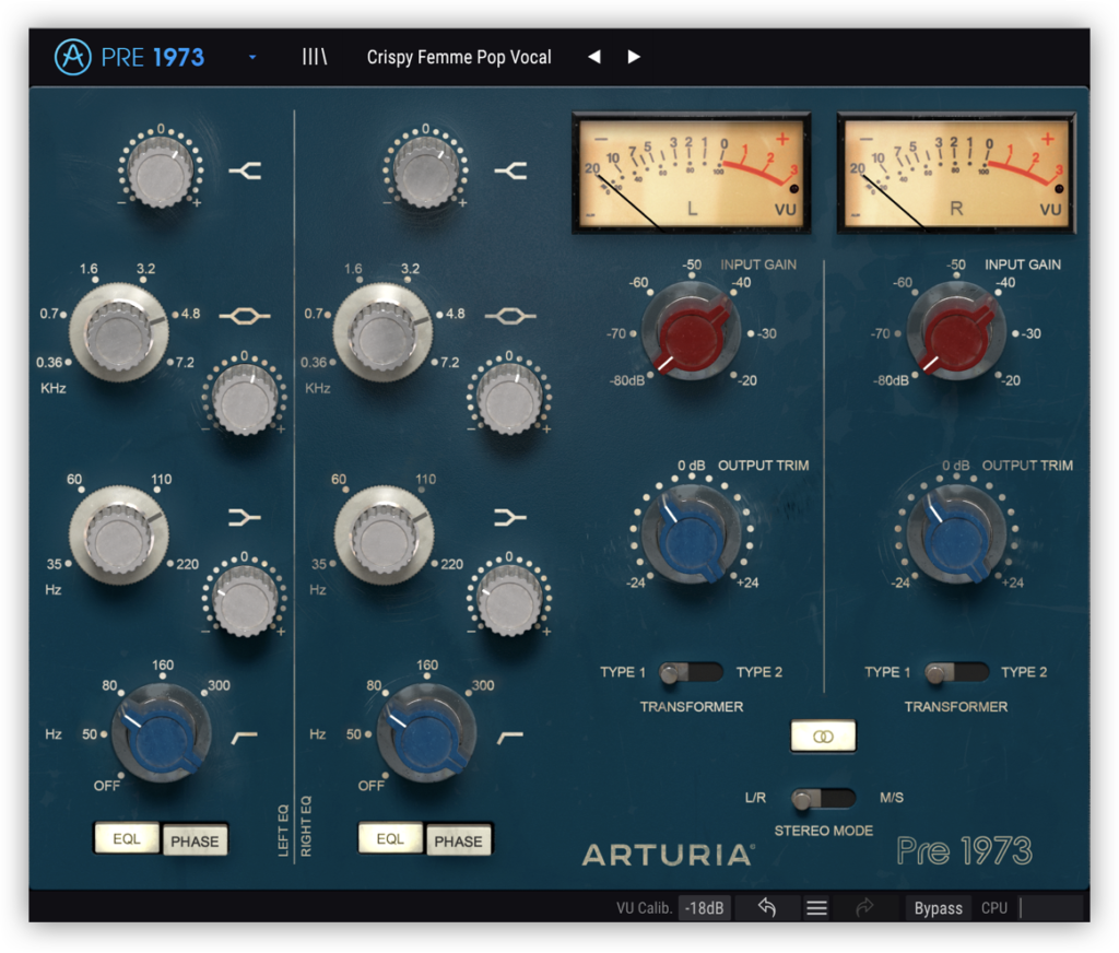 The vocal chain parameters for the 1973-Pre in Arturia's FX Collection