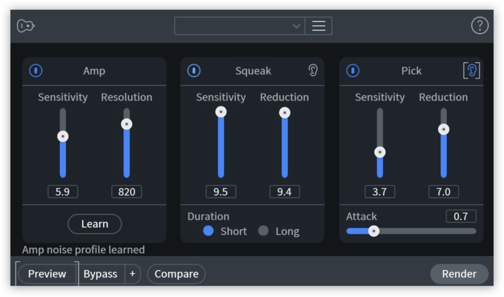 A screenshot of the Guitar Denoise module in iZotope's RX 8