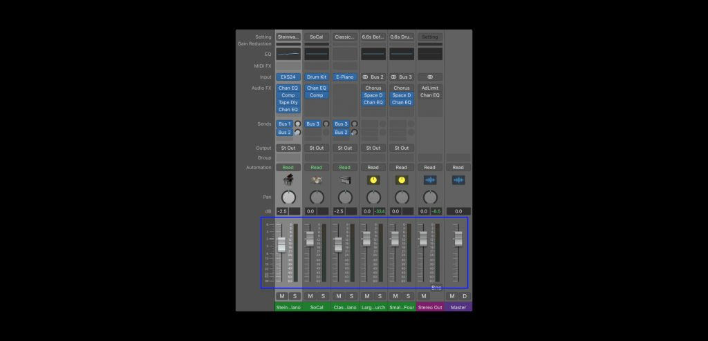 Volume faders in the mixer view of Logic Pro X