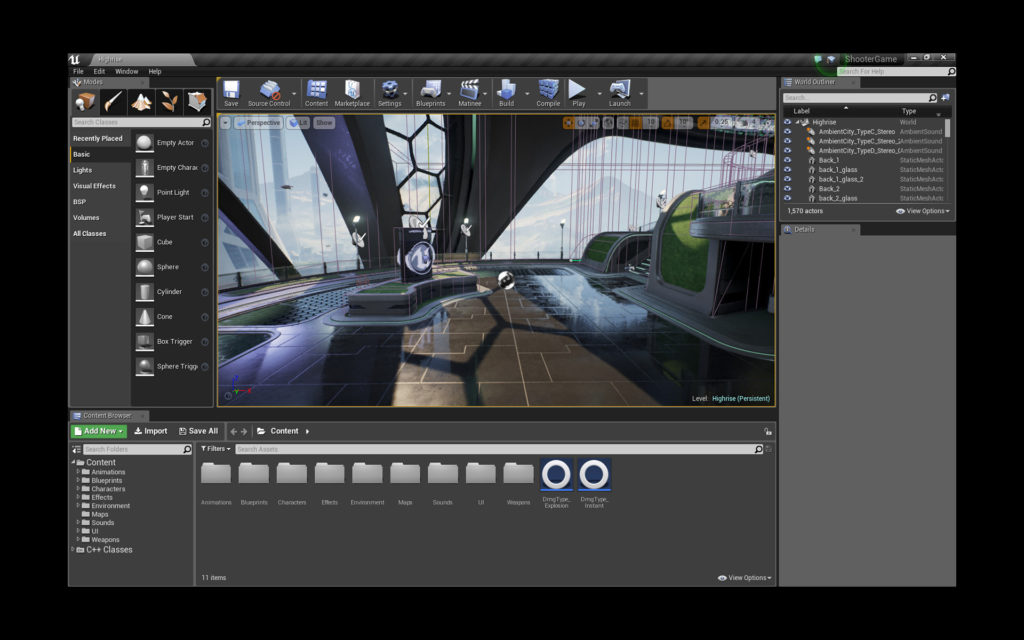 An image of the Unreal Engine 4 Editor