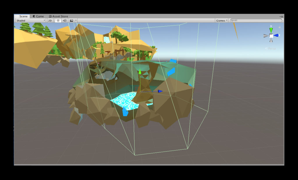 Image of a Trigger Zone in Unity denoting a reverb area for a cave in the Wwise Adventure Game