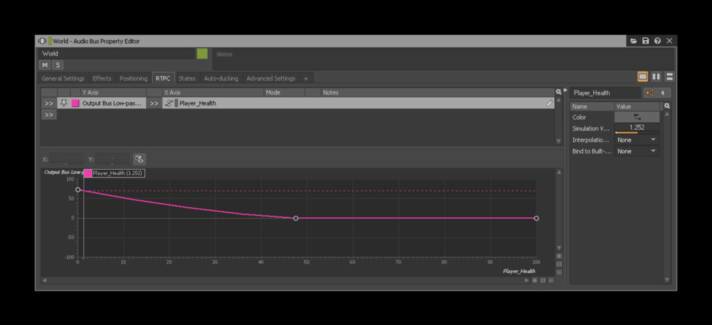 Image of a Low Pass Filter effect on the World bus increasing as a Player Health parameter decreases