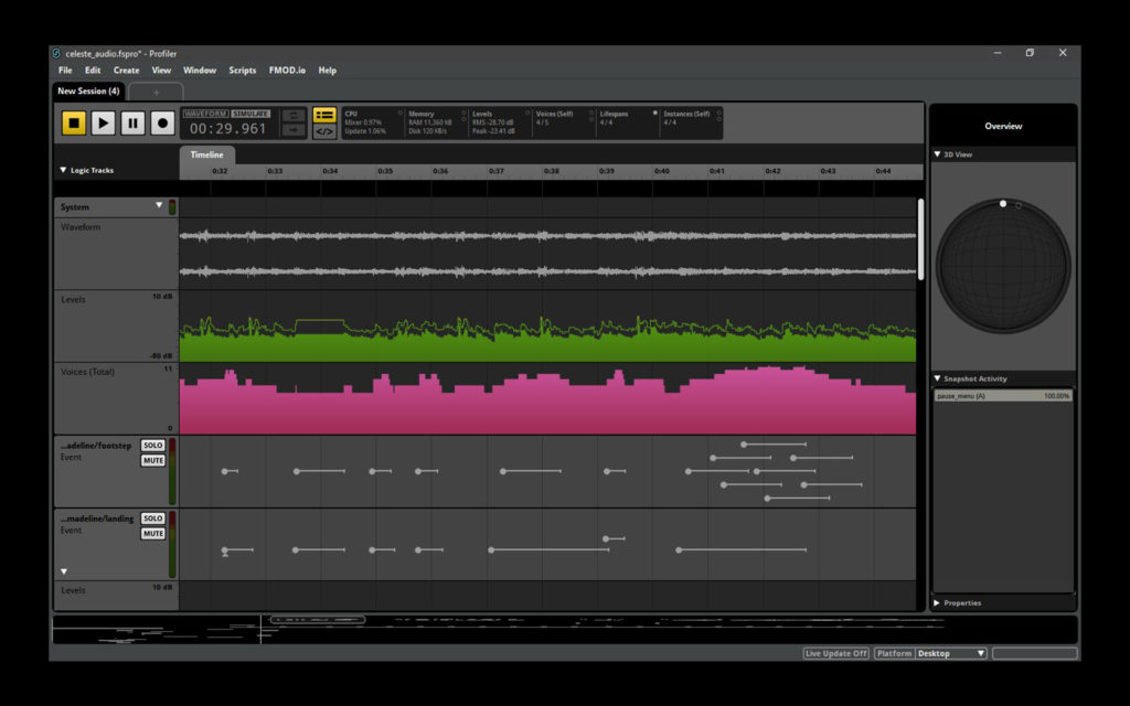 """Image of the Fmod Profiler from the """"Celeste"""" walkthrough project"""