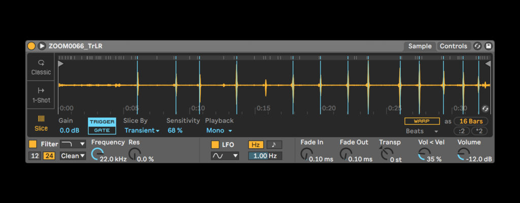 Slicing audio using the Simpler device in Ableton